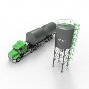 Металлический силос с конусным дном 40 м3 (52 тн)